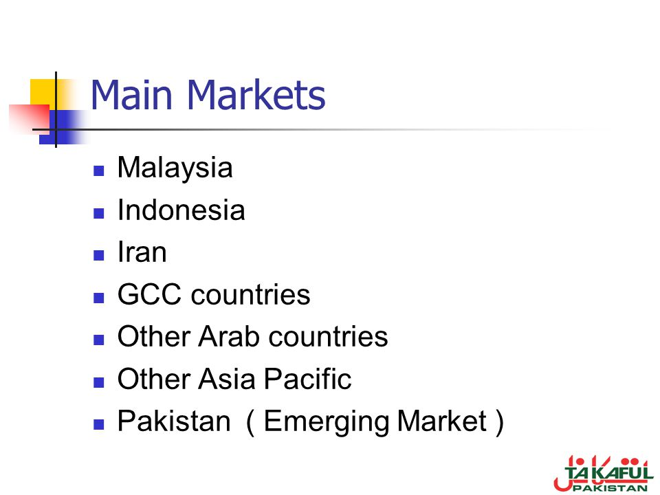 Main Markets Malaysia Indonesia Iran GCC countries