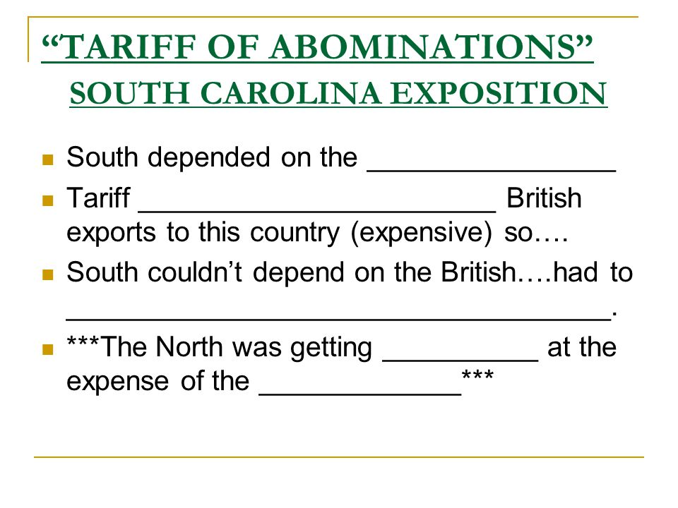 TARIFF OF ABOMINATIONS SOUTH CAROLINA EXPOSITION