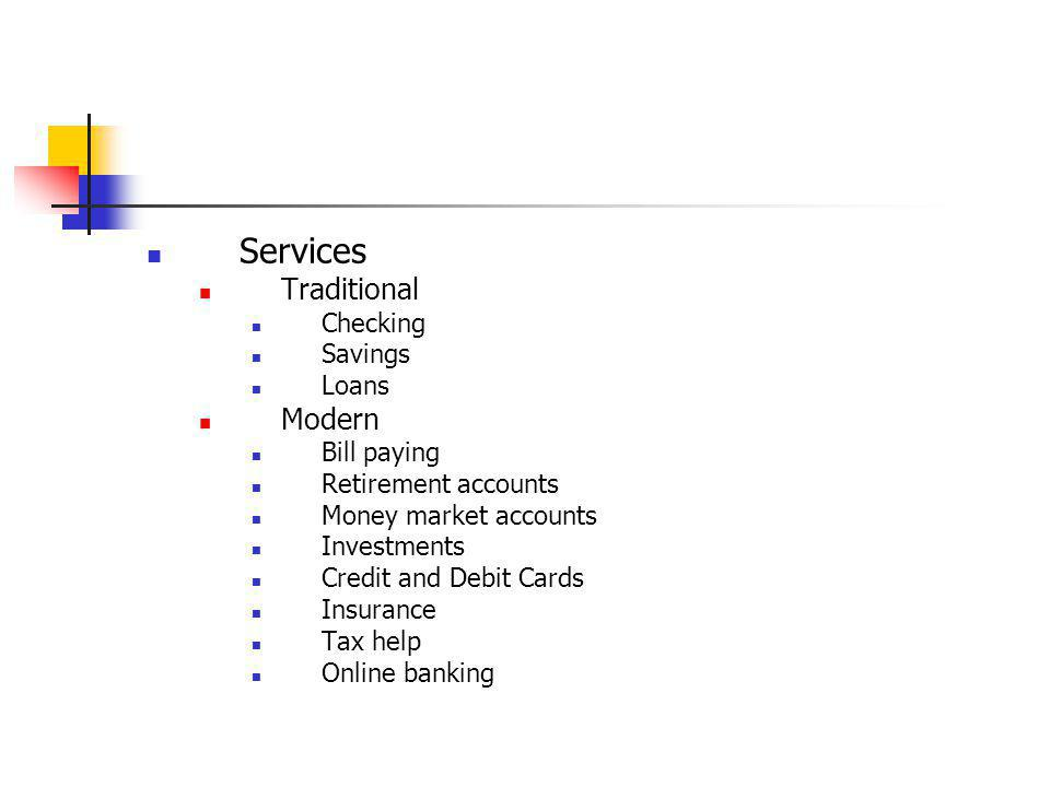 Services Traditional Modern Checking Savings Loans Bill paying