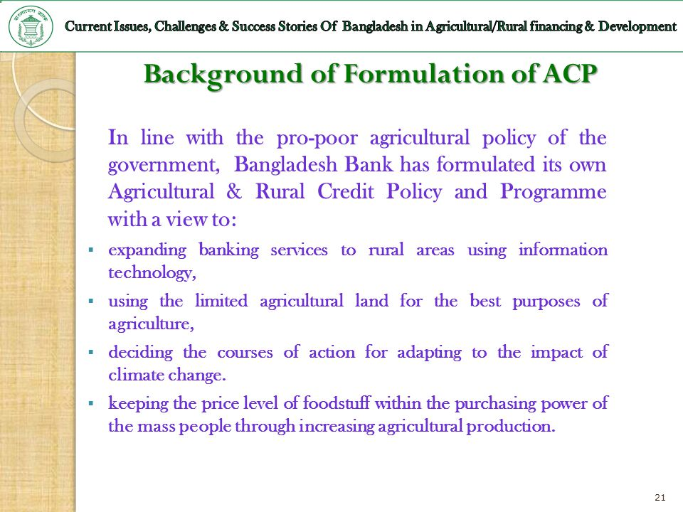 Background of Formulation of ACP