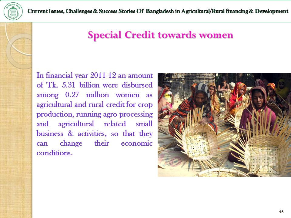 Special Credit towards women