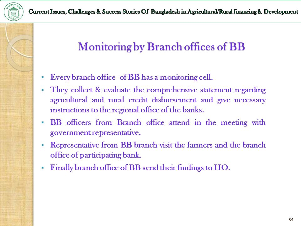 Monitoring by Branch offices of BB