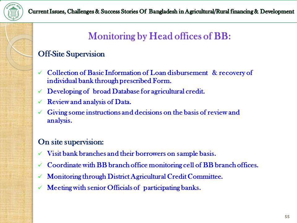 Monitoring by Head offices of BB: