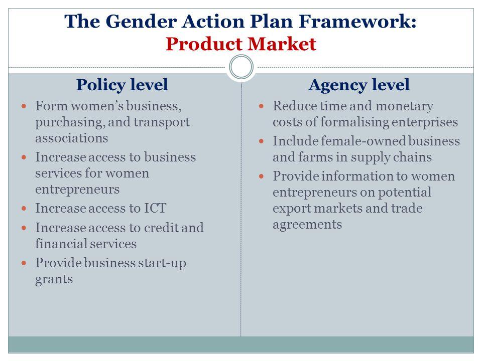 The Gender Action Plan Framework: Product Market