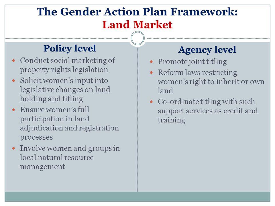 The Gender Action Plan Framework: Land Market
