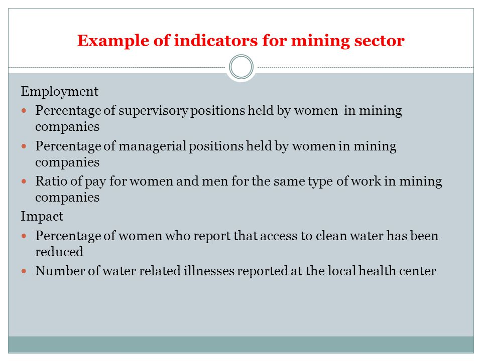 Example of indicators for mining sector