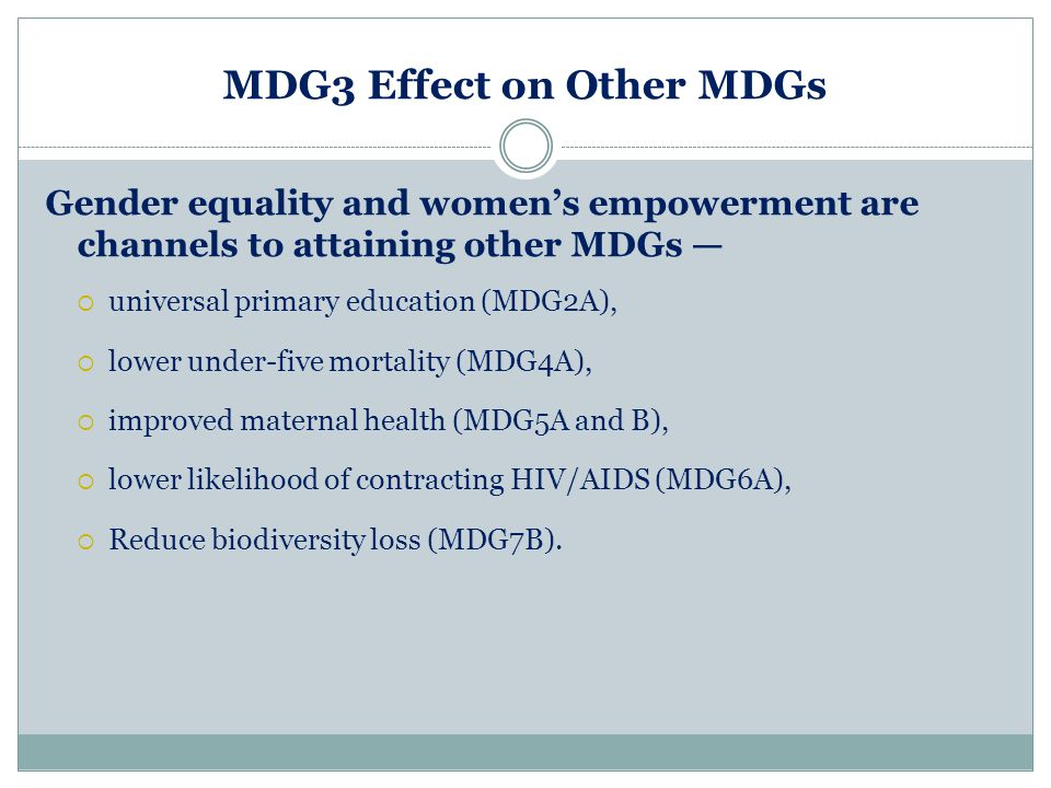MDG3 Effect on Other MDGs