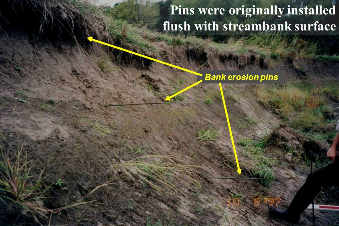 Pins were originally installed flush with streambank surface
