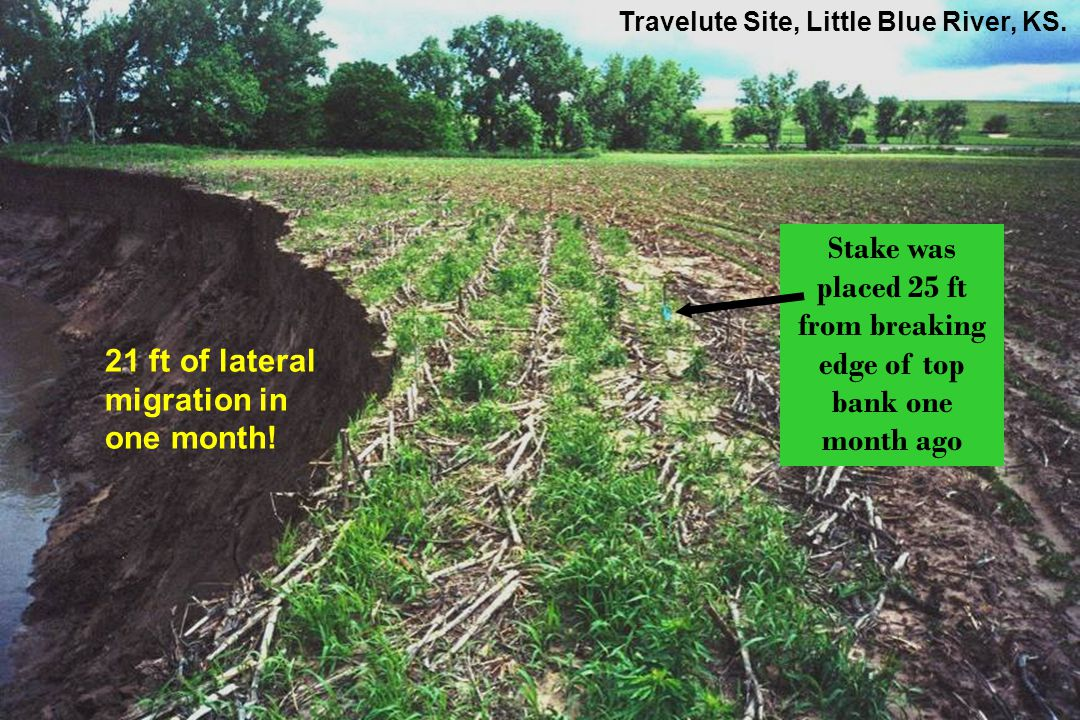 Stake was placed 25 ft from breaking edge of top bank one month ago