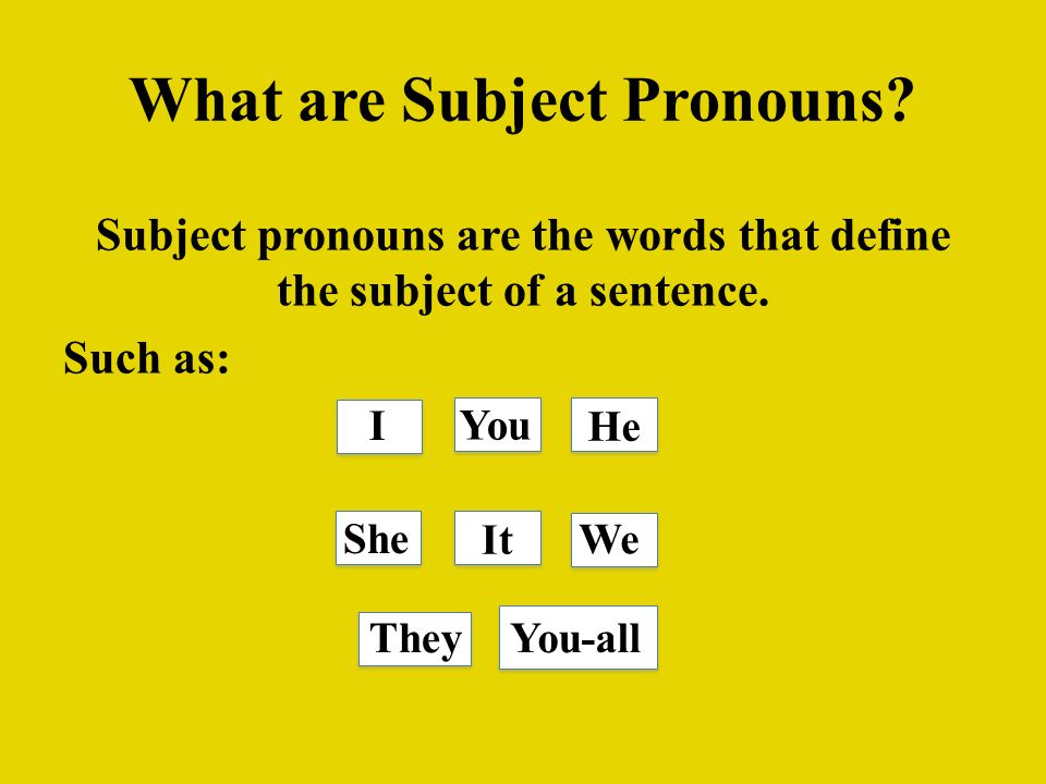 What are Subject Pronouns