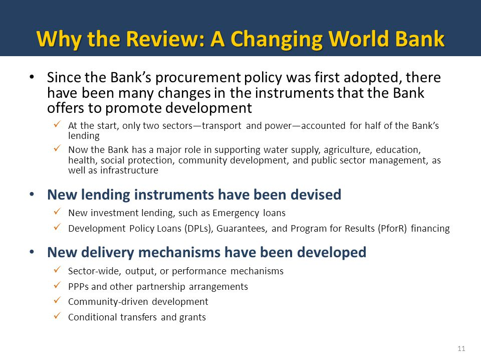 Why the Review: A Changing World Bank