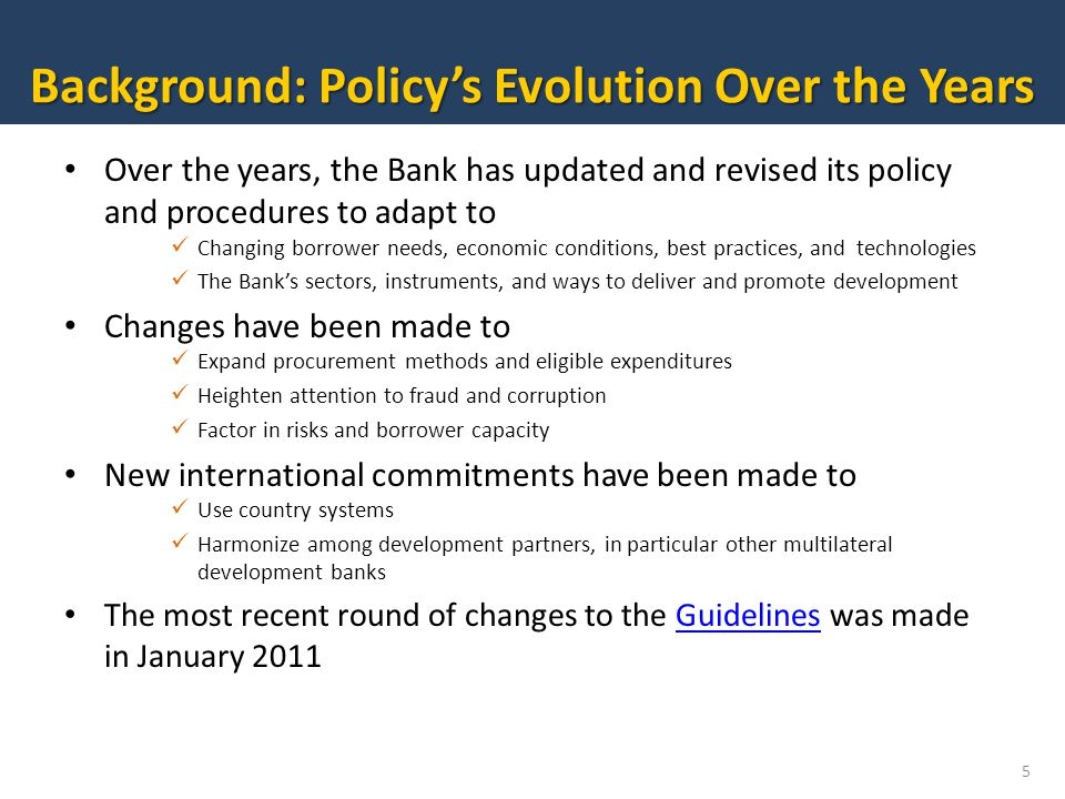 Background: Policy's Evolution Over the Years