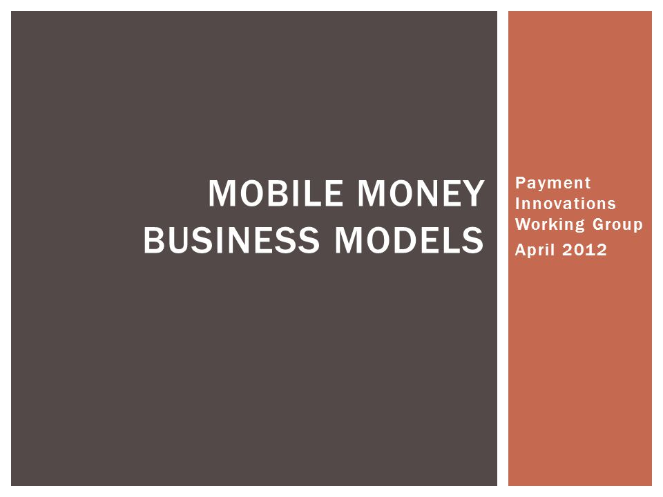 Mobile Money Business Models
