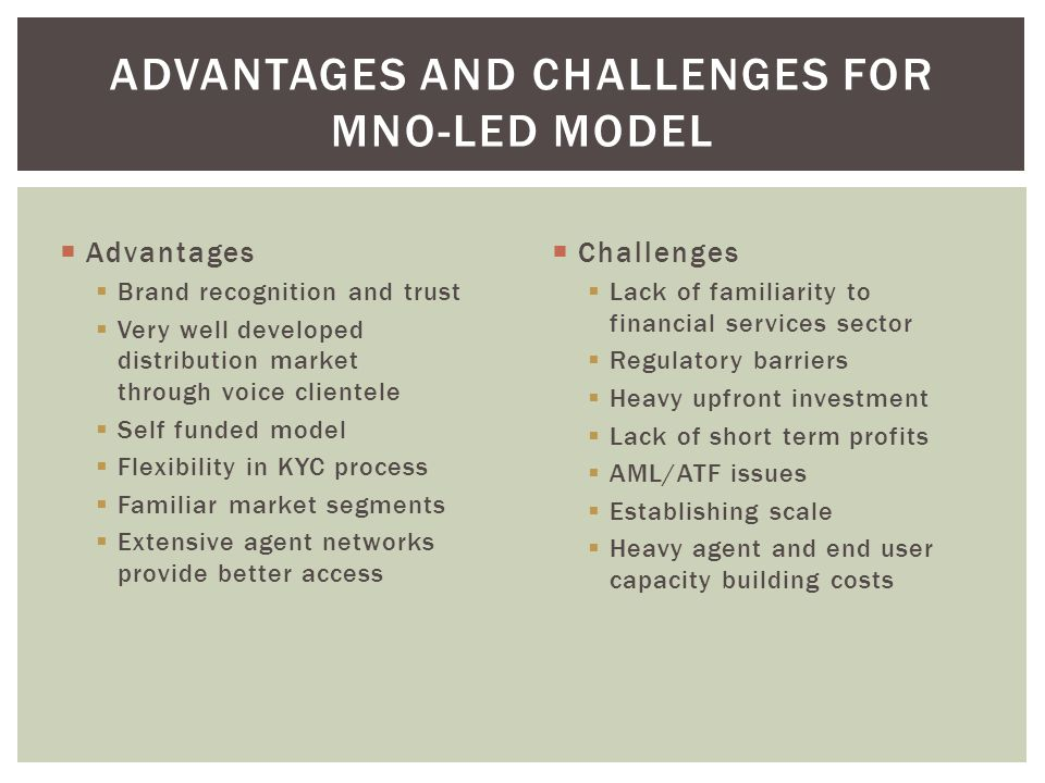 Advantages and Challenges for MNO-Led Model