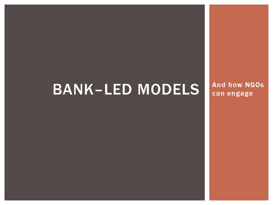Bank–led models And how NGOs can engage