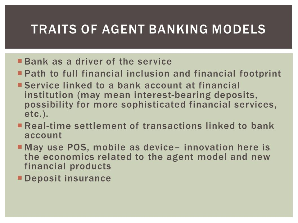 Traits of Agent banking models