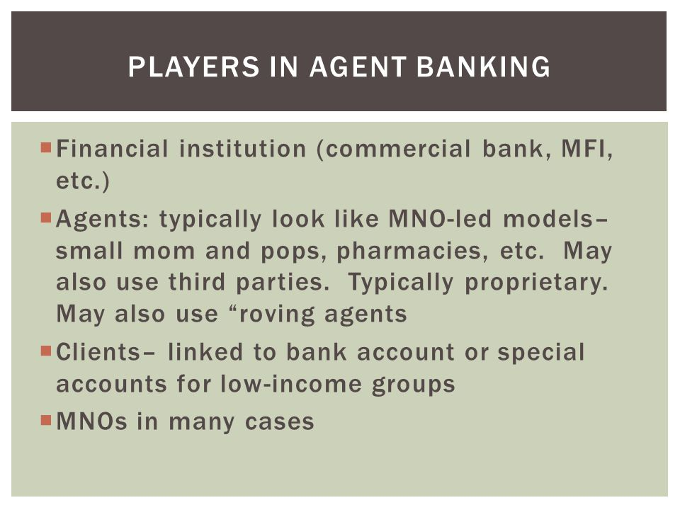 Players in agent banking