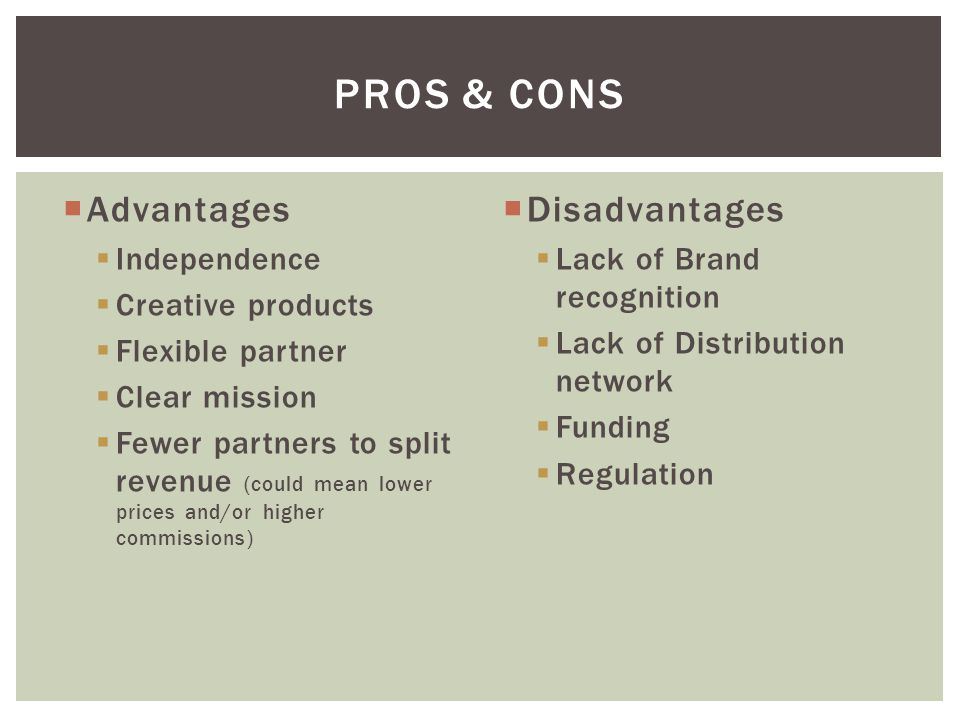 ProS & cons Advantages Disadvantages Independence Creative products