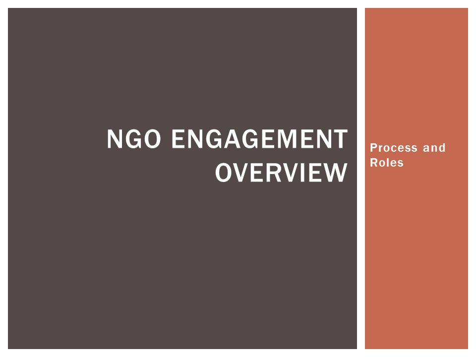 NGO engagement Overview