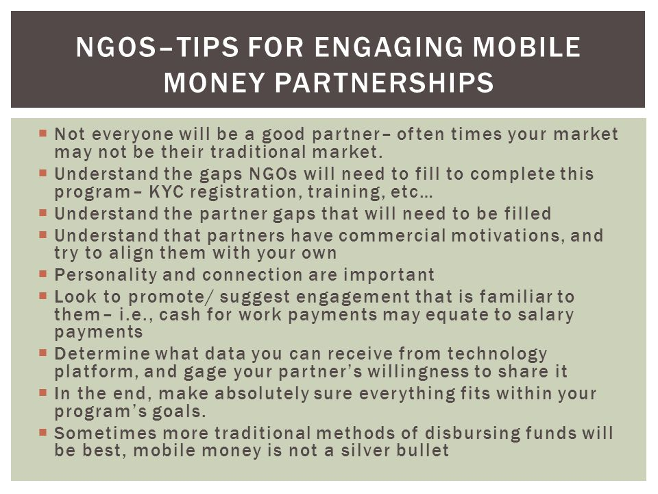 NGOs–Tips for engaging mobile money partnerships