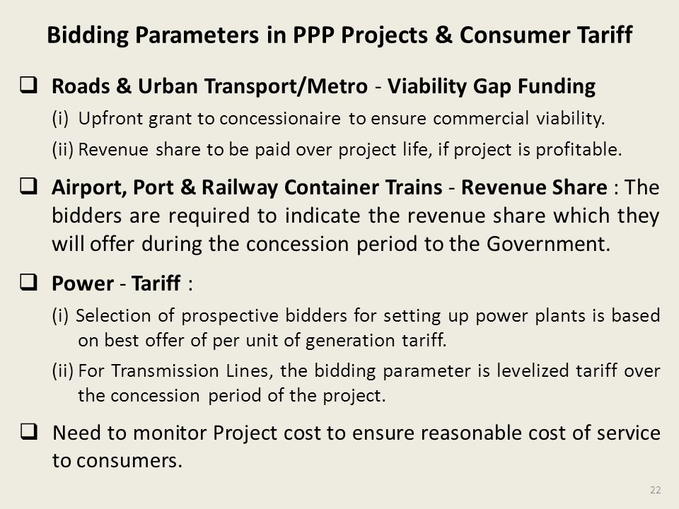 Bidding Parameters in PPP Projects & Consumer Tariff