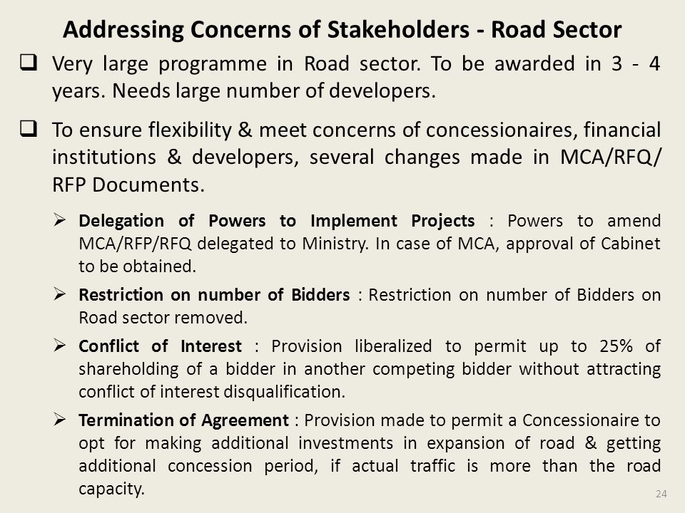 Addressing Concerns of Stakeholders - Road Sector
