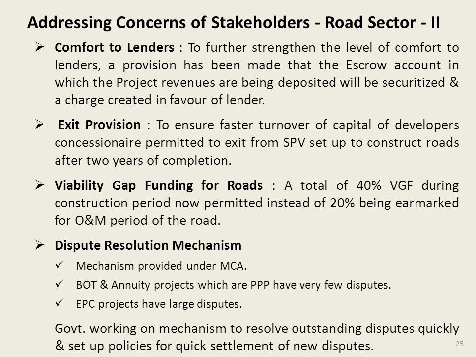 Addressing Concerns of Stakeholders - Road Sector - II