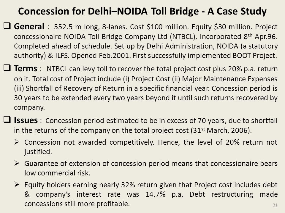 Concession for Delhi–NOIDA Toll Bridge - A Case Study