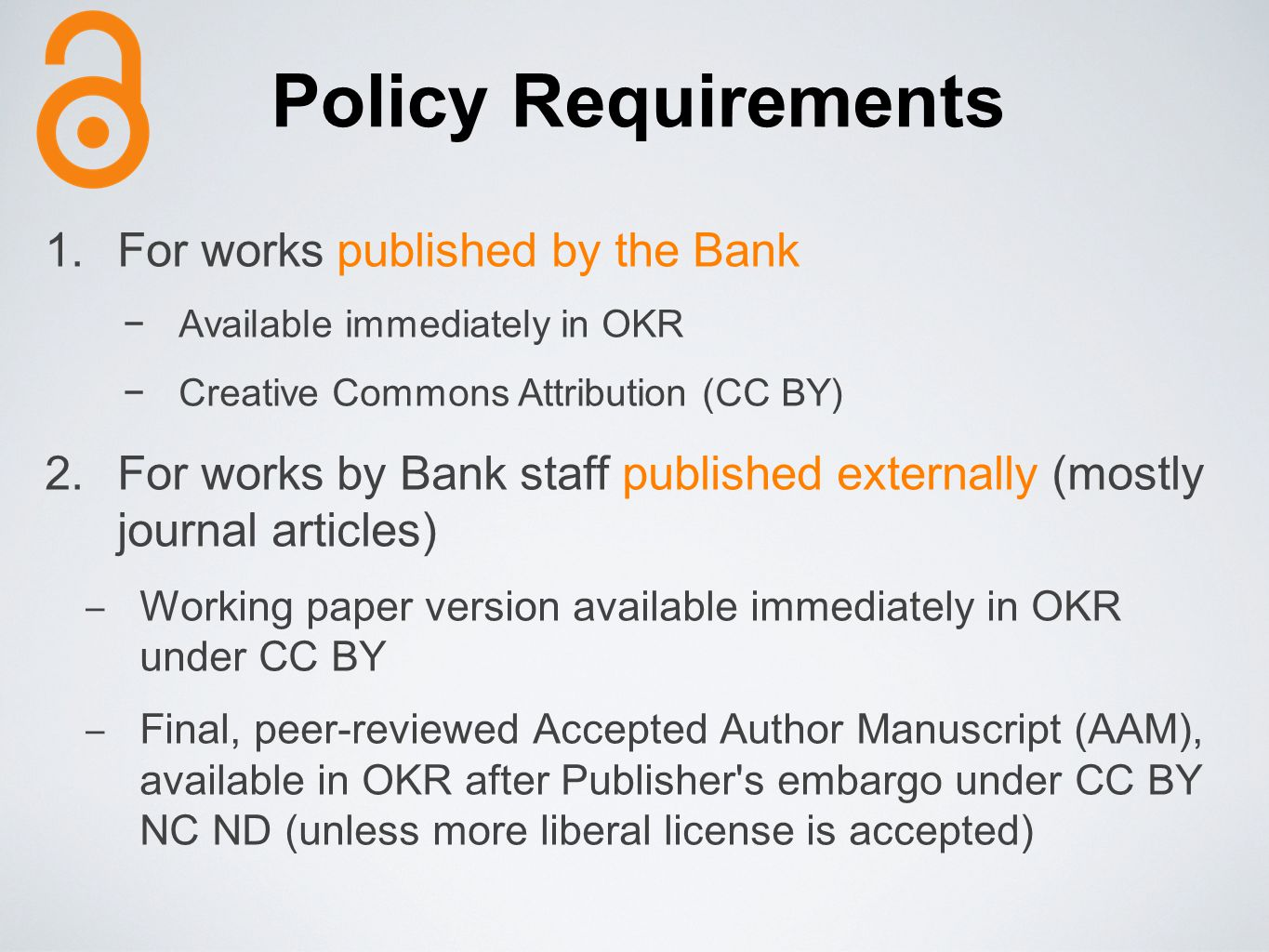 Policy Requirements For works published by the Bank