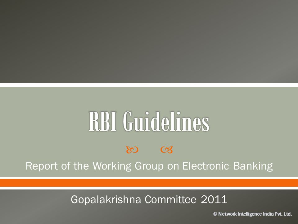 RBI Guidelines Report of the Working Group on Electronic Banking