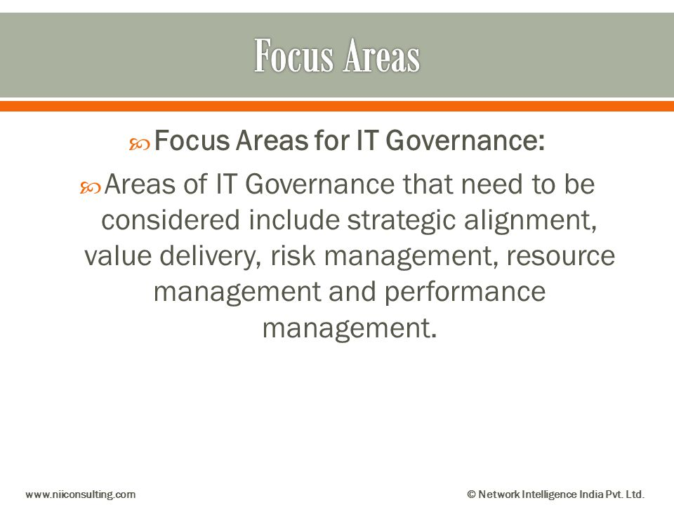 Focus Areas for IT Governance: