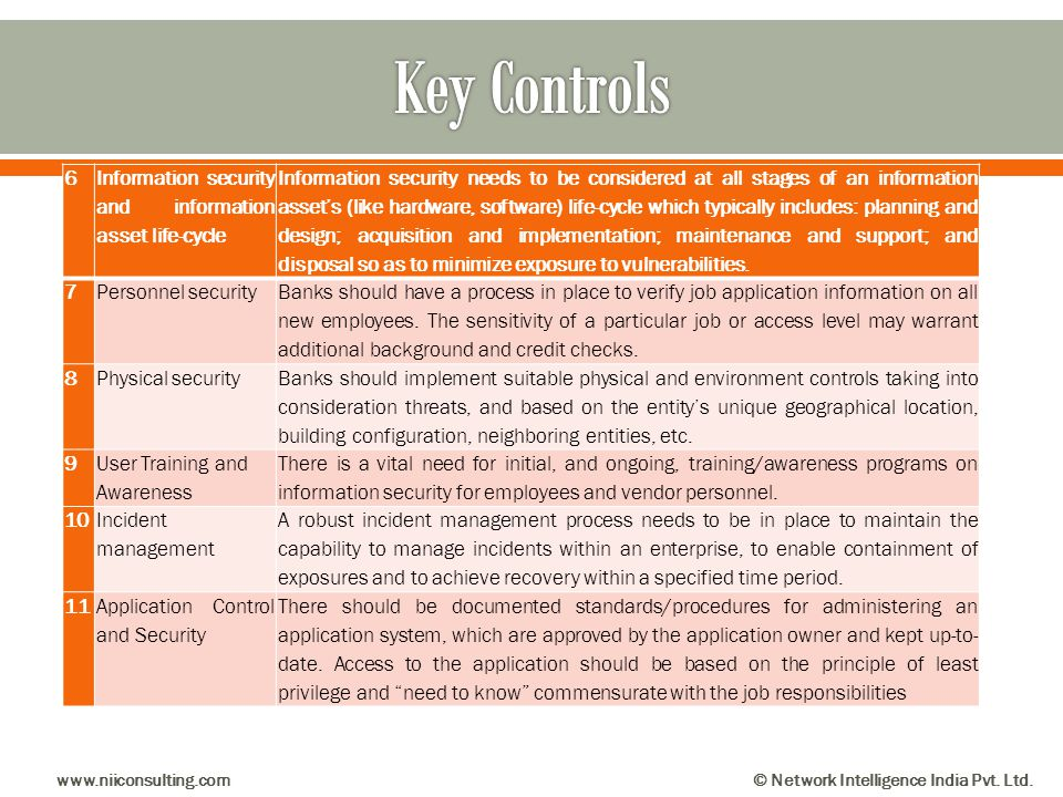 Key Controls 6 Information security and information asset life-cycle