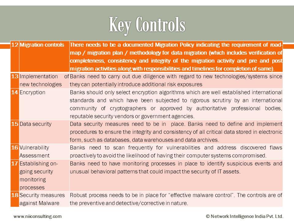 Key Controls 12 Migration controls