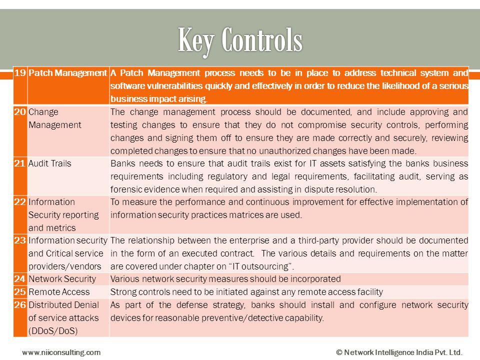 Key Controls 19 Patch Management