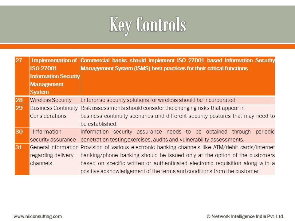 Key Controls 27. Implementation of ISO 27001 Information Security Management System.