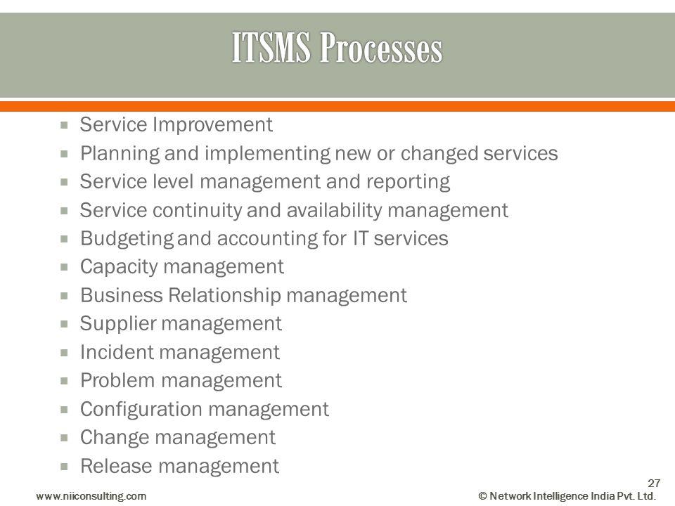 ITSMS Processes Service Improvement