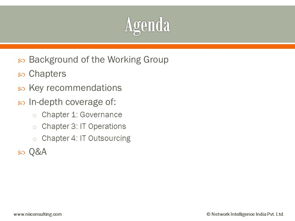Agenda Background of the Working Group Chapters Key recommendations