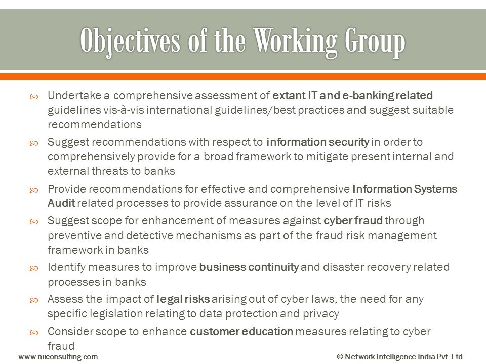 Objectives of the Working Group