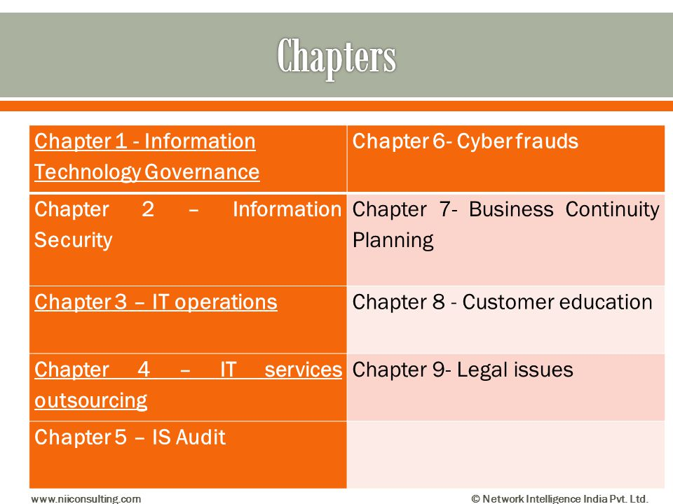 Chapters Chapter 1 - Information Technology Governance