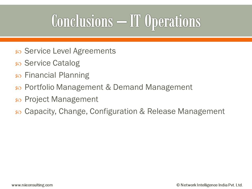 Conclusions – IT Operations