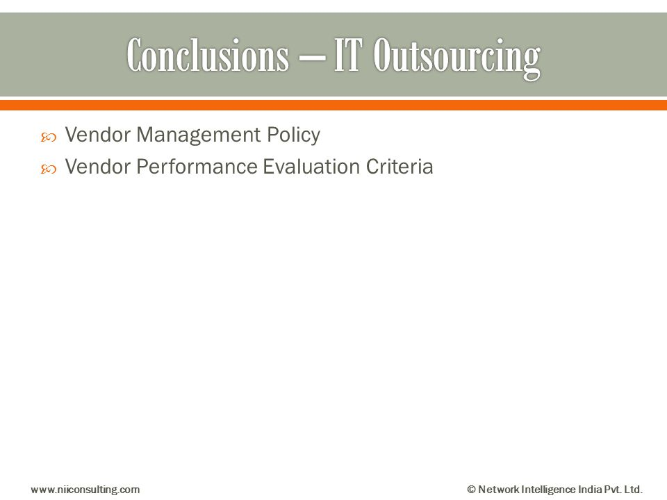 Conclusions – IT Outsourcing