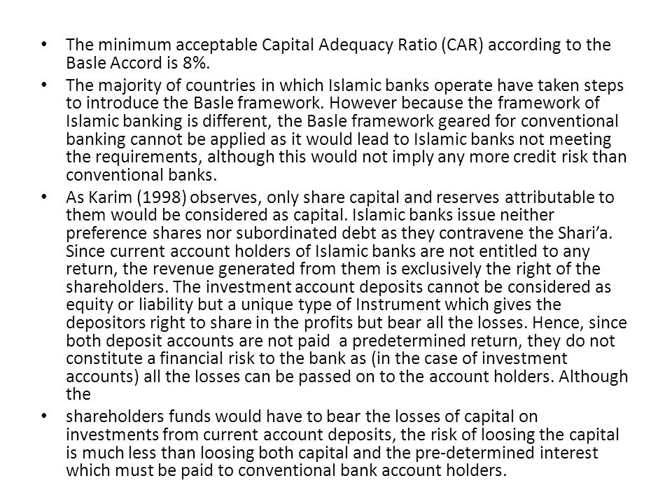 The minimum acceptable Capital Adequacy Ratio (CAR) according to the Basle Accord is 8%.