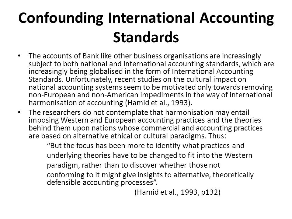 Confounding International Accounting Standards
