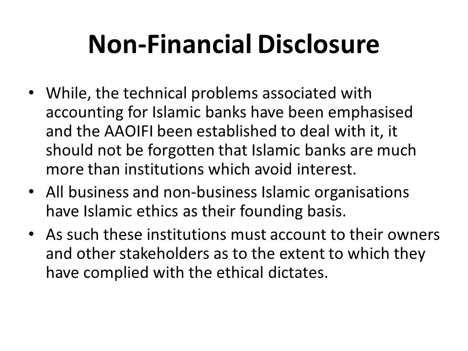 Non-Financial Disclosure