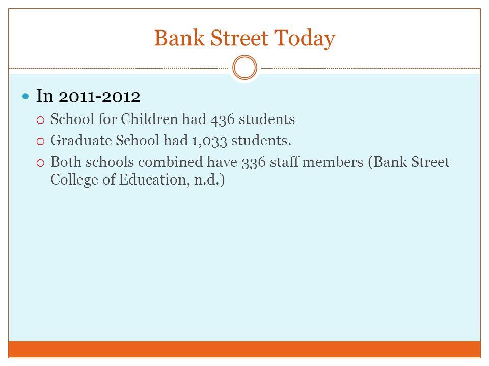 Bank Street Today In 2011-2012 School for Children had 436 students