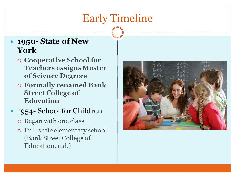 Early Timeline 1950- State of New York 1954- School for Children