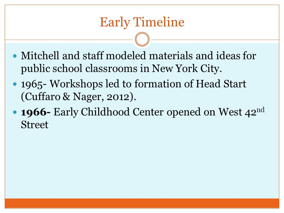 Early Timeline Mitchell and staff modeled materials and ideas for public school classrooms in New York City.
