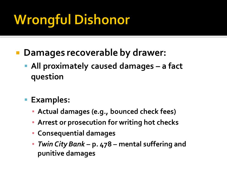 Wrongful Dishonor Damages recoverable by drawer: