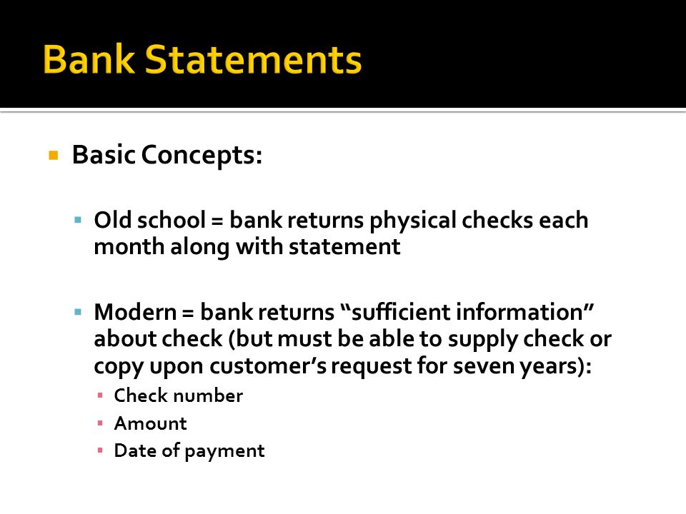 Bank Statements Basic Concepts: