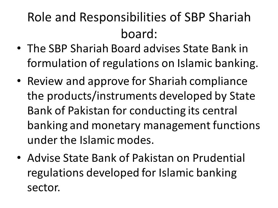 Role and Responsibilities of SBP Shariah board: